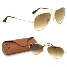 5566044f75818 Óculos Sol Ray-ban Aviador Dourado Marrom Degrade Original
