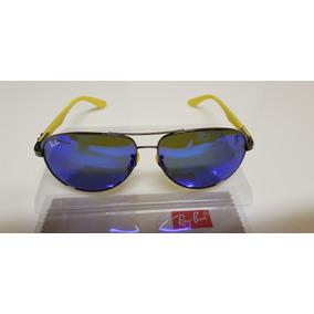 4dc2a6a8a Óculos Sol Ray-ban Scuderia Ferrari- Rb8313m Azul Espelhado