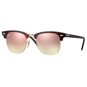 a2a59e3c11b72 Oculos Sol Ray Ban Clubmaster Rb3016 990 7o 51mm Havana Rosa