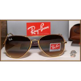 7c3a892c84030 Ray Ban Aviador 3025 Dourado Lente Marrom Espelhado Cristal - Óculos ...