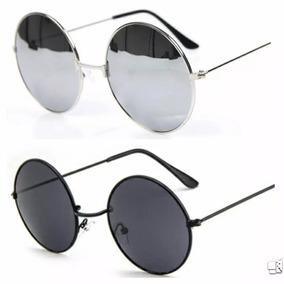 c589fc8f1 Óculos De Sol Espelhado Masculino Feminino Redondo Lindo