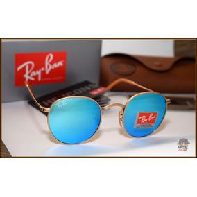 7008500ce Óculos Escuro Redondo/round Lente Azul Espelhada Brinde - Óculos no ...