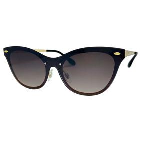 aec3c62c7f0ba Óculos De Sol Lente Uva Feminino Metal Marrom Degradê
