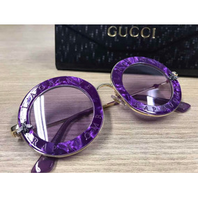 f0c65407f1fcc Óculos De Sol Gucci Prata E Lilas - Óculos no Mercado Livre Brasil