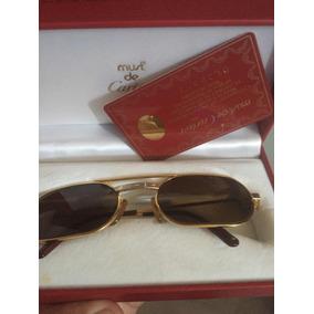 02c2e991f64 culos De Sol Cartier Dourado     Santos Dumont Paris 125 - Óculos ...
