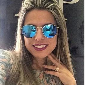 67683d64c1278 Óculos Round Feminino Espelhado Gold Rose Metal Lindo Barato