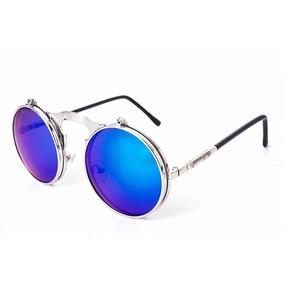 f537f8a33 Óculos Redondo Flip Up Móvel High Quality Uv400 Com Estojo