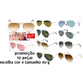 4c80a3ed2da8f Oculos De Sol Ray Ban Aviador Lente Cristal Atacado Revenda