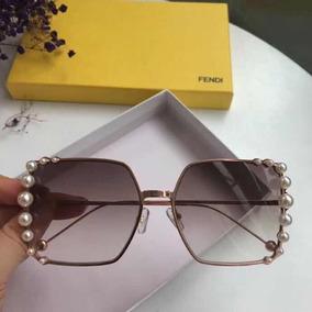 465c5f150e4d9 Óculos De Sol Fendi Pearls Feminino Pérola Quadrado Coleção