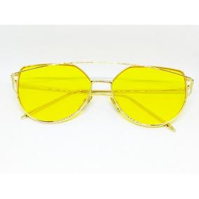 2766835b3e3b8 Óculos De Sol Gatinho Cat Eye Vintage Lente Colorida Amarelo