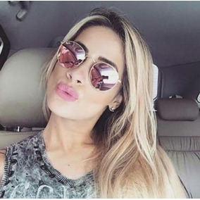 ae1dd9555edc4 Oculos De Sol Retro Feminino Redondo Escuro - Calçados