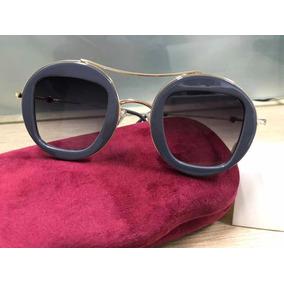 0aa29483b Óculos Gucci 0105s Cinza Round Redondo Feminino