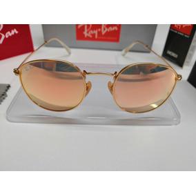 2ade66f2c Oculos De Sol Ray Ban Round Rb3447 Rose Espelhado Cristal - Óculos ...