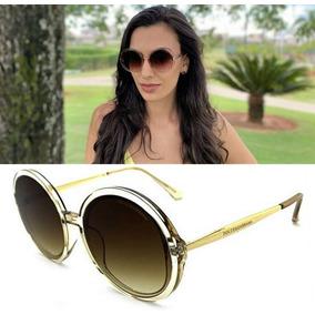 770eaa044 Oculos Redondo Haste Dourada De Sol Outras Marcas - Óculos no ...