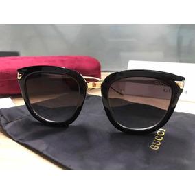 59feb1b7da154 Óculos De Sol Gucci Cateye Preto Acetato Feminino