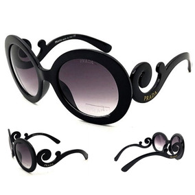 297c49d6e7995 Óculos De Sol Prada Baroque Preto Redondo Ou Quadrado - Óculos no ...