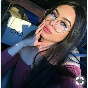 b67aade5132be Óculos Estiloso Sem Grau Redondo Da Moda Falso Mentira Lindo