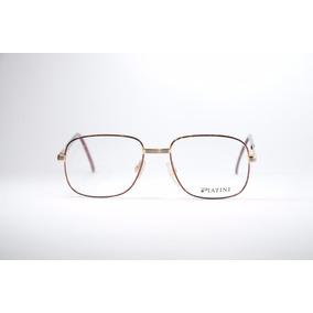 ce1e6563f9338 Óculos Quadrado Masculino Dourado Retrô Platini 1843