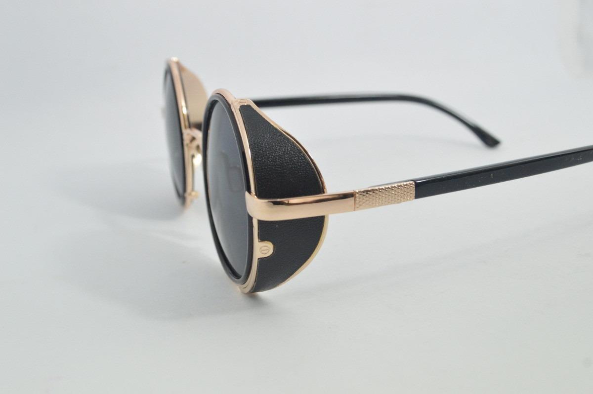 óculos sol antigo dourado lente redonda vintage motociclista. Carregando  zoom. e53013a932