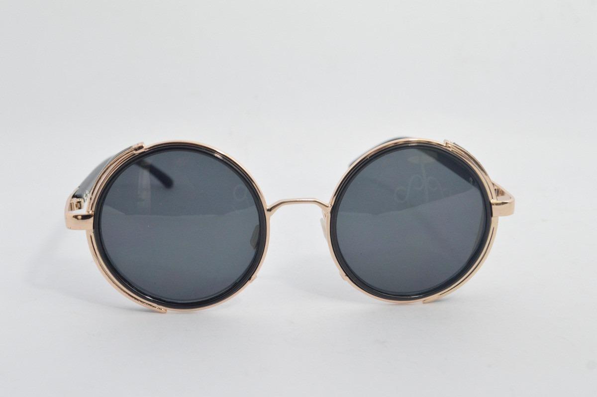 c3a1406a1befd óculos sol antigo dourado lente redonda vintage motociclista. Carregando  zoom.