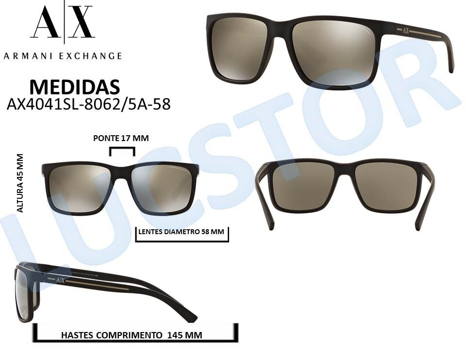 636da73368341 Oculos De Sol Armani Exchange Ax4041sl 8062 5a-58 Masculino - R  298 ...