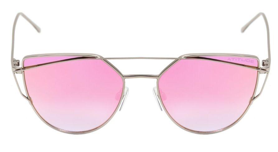 oculos sol atitude at3193 03a prata lente rosa espelhada. Carregando zoom. 1a07b85ac7