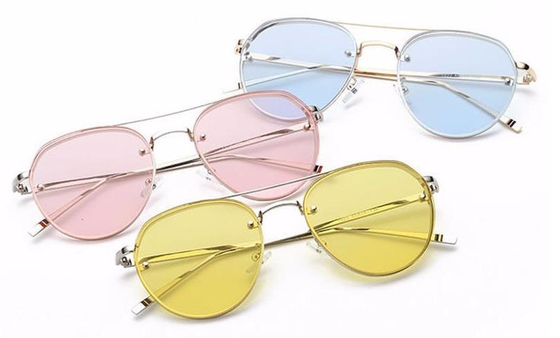 c59ce98e986d0 óculos sol aviador unissex rose azul rosa espelhado redondo. Carregando zoom .