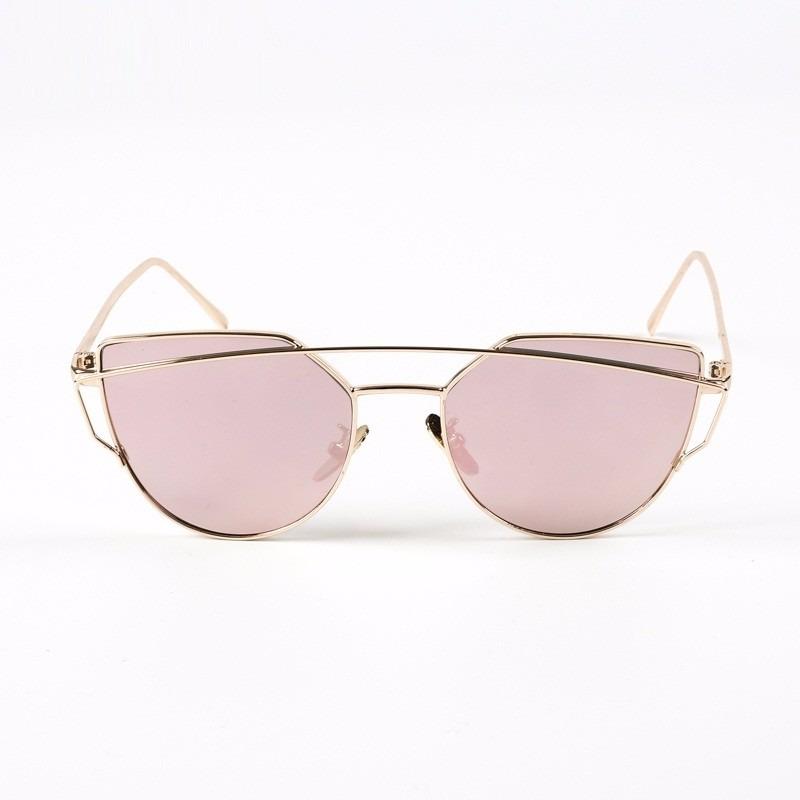 óculos sol barato feminino dourado com lente rosa espelhada. Carregando  zoom. 1bcf2027d8