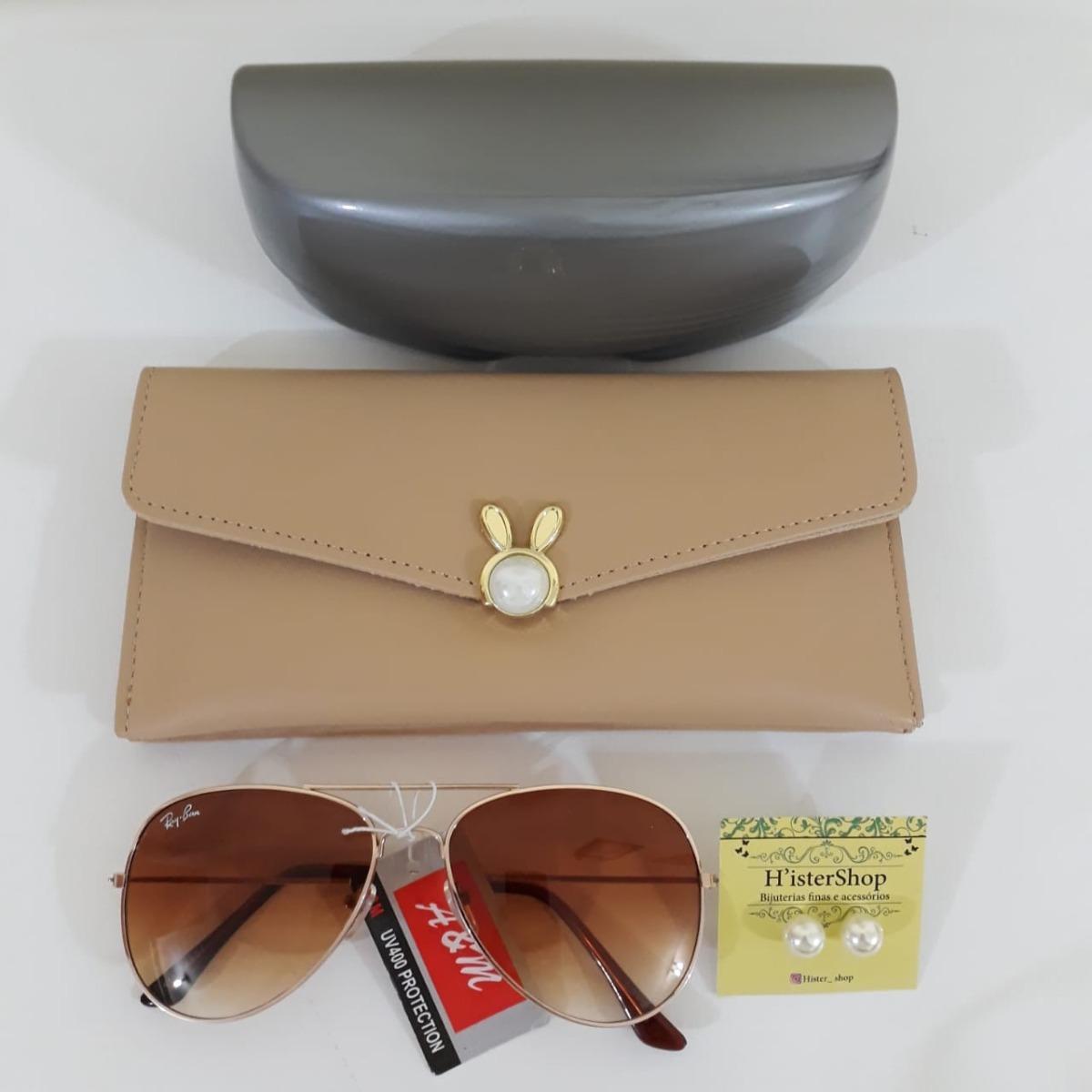 Kit 2 Óculos De Sol Fem + Carteira Bolsa + Brinde Feminino - R  45 ... 75d8328fa0