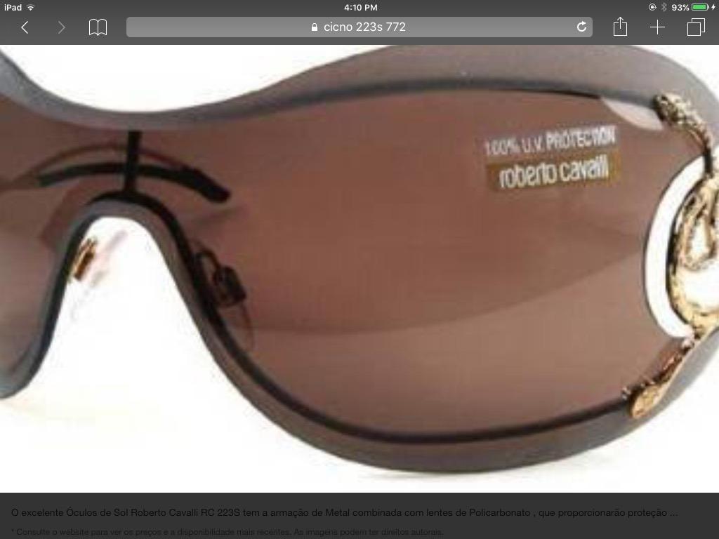 Oculos De Sol Roberto Cavalli Cicno 223s Usado Original - R  799,00 ... 5a4039bc92