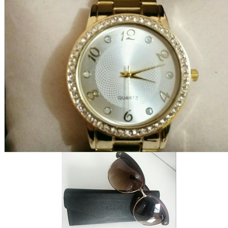 fba6151aeaa Relógio Feminino Dourado Barato + Óculos Sol Chanel Marrom - R  49 ...