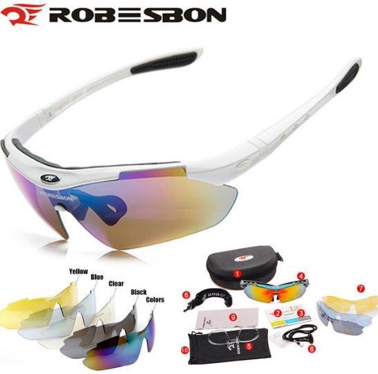 Óculos Sol Ciclismo Pesca C  5 Lentes Proteção Uv100% Sku179 - R  99 ... ac400c74b3