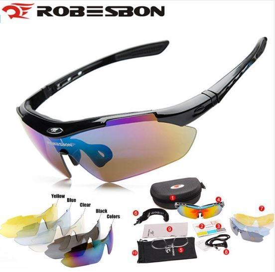 c79ce381f993e Óculos Sol Ciclismo Robesbon C  5 Lentes 1 Polarizada Sku179 - R ...