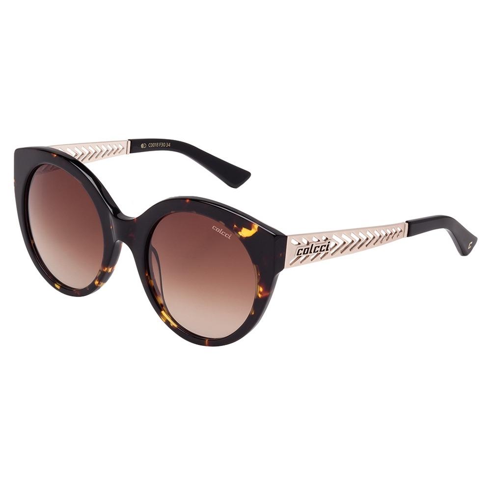 bf9f4dfa1f4f2 Óculos De Sol Feminino Marrom Demi Brilho C0018 Colcci - R  196,46 ...
