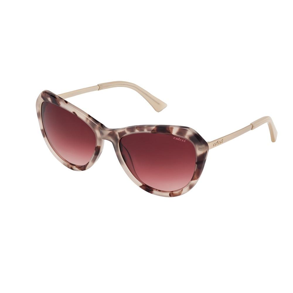 e52b920977fac Óculos De Sol Feminino Bege marrom Demi dourado Fosco Colcci - R ...