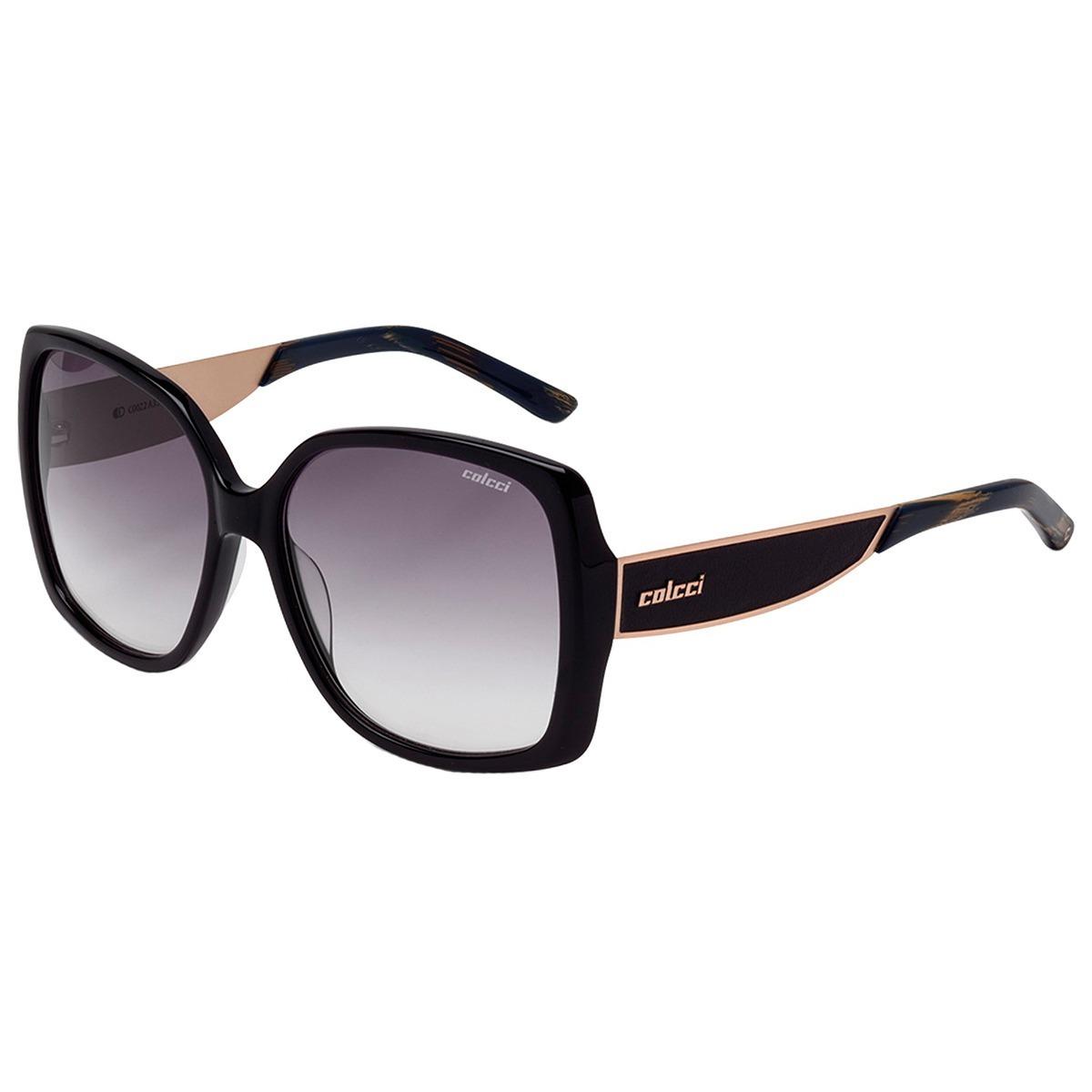 Oculos Sol Colcci C0022a3533 Preto Brilho Azul Original - R  269,00 ... 6e010fffe2