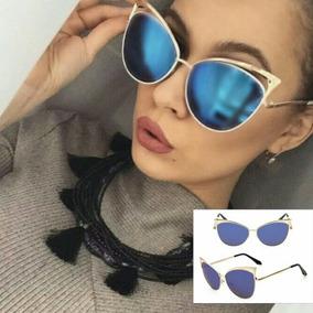 5ef0cbc97 Oculos Gatinho Espelhado Azul - Óculos no Mercado Livre Brasil