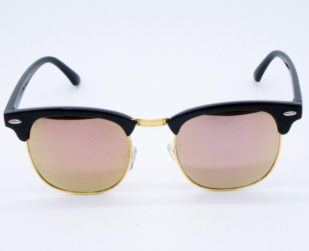 f4a4ab043835a Oculos Sol Feminino Clubmaster Quadrado Retro 3016 Rosa Rose - R  69 ...