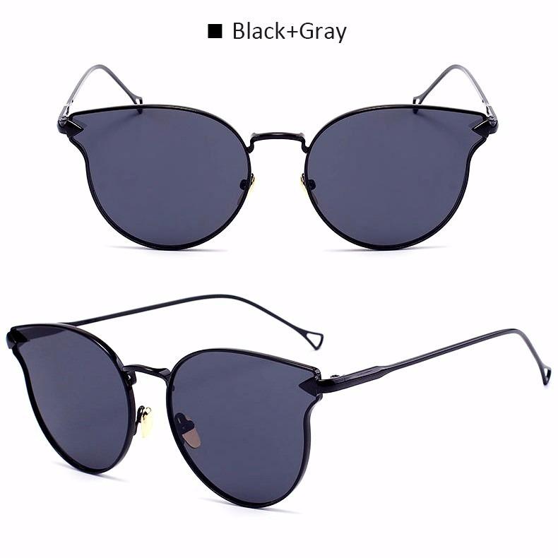 Óculos Sol Feminino Espelhado Drop Gato Gatinho Round Metal - R  69 ... 3c5002d5ce