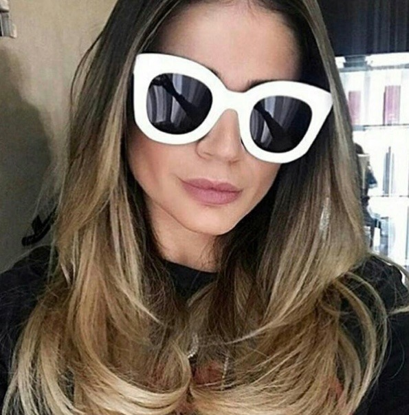 4a018061c Oculos Sol Feminino Grande Luxo Branco Gatinho Celine - R$ 36,40 em ...