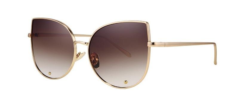 dd94509d0455e Óculos Sol Feminino Lola Blogueira Blog Haste Dourada Marrom - R  59 ...