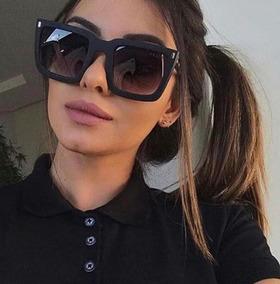 e6740a906 Óculos Sol Feminino Mascara Grande Quadrado Cinemaluxo Preto