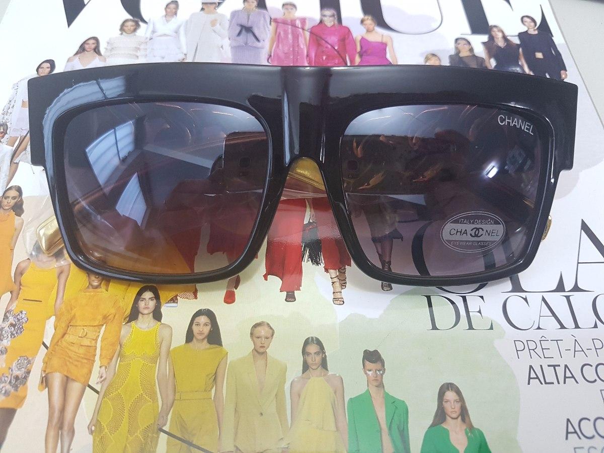 ff9c52b35 óculos sol feminino preto corrente dourada case luxo flanela. Carregando  zoom.