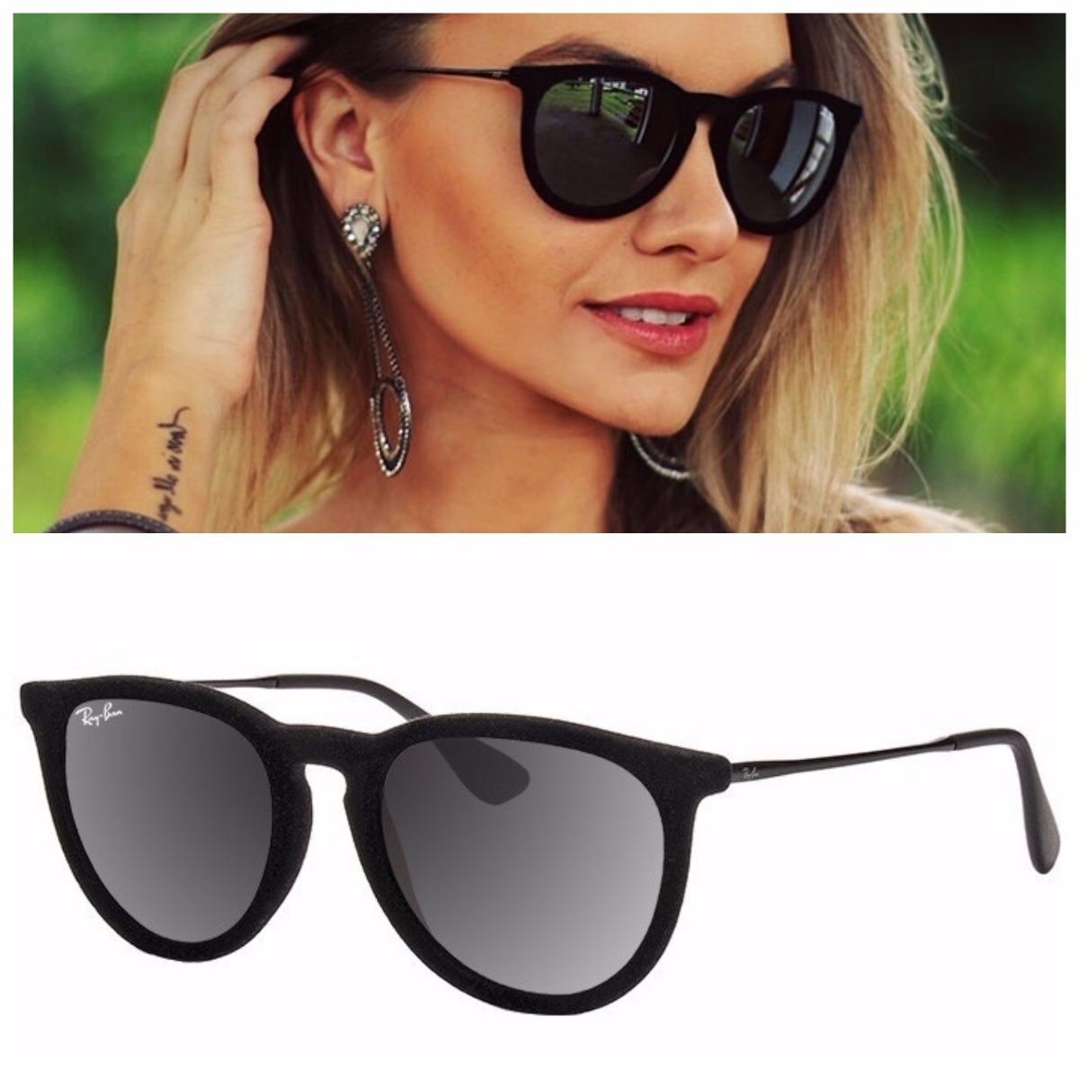 e386894a01a44 óculos sol feminino redondo érica erika veludo camurça preto. Carregando  zoom.