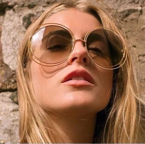 043bc56ad615c Óculos Sol Feminino Redondo Marrom Grande Retrô Degradê - R  59,90 ...