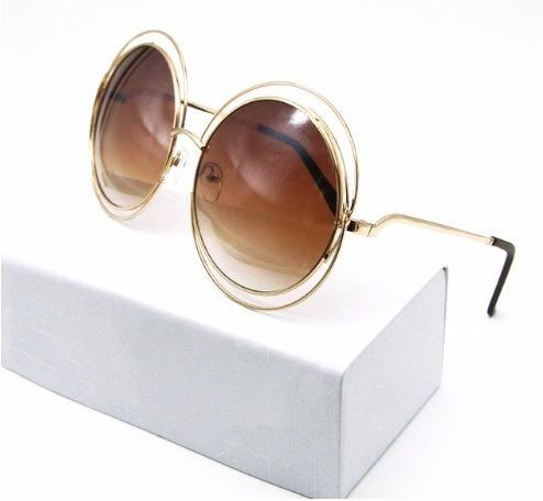 Óculos Sol Feminino Redondo Marrom Grande Retrô Degradê - R  59,90 ... 1f902c05b2