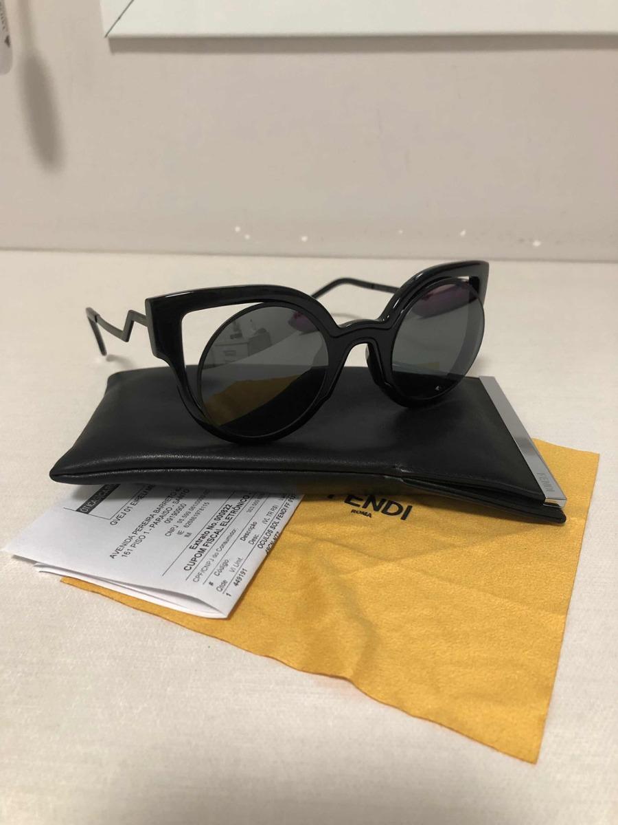 9c789271e Óculos De Sol Fendi Preto Espelhado, Com Nota - R$ 800,00 em Mercado ...