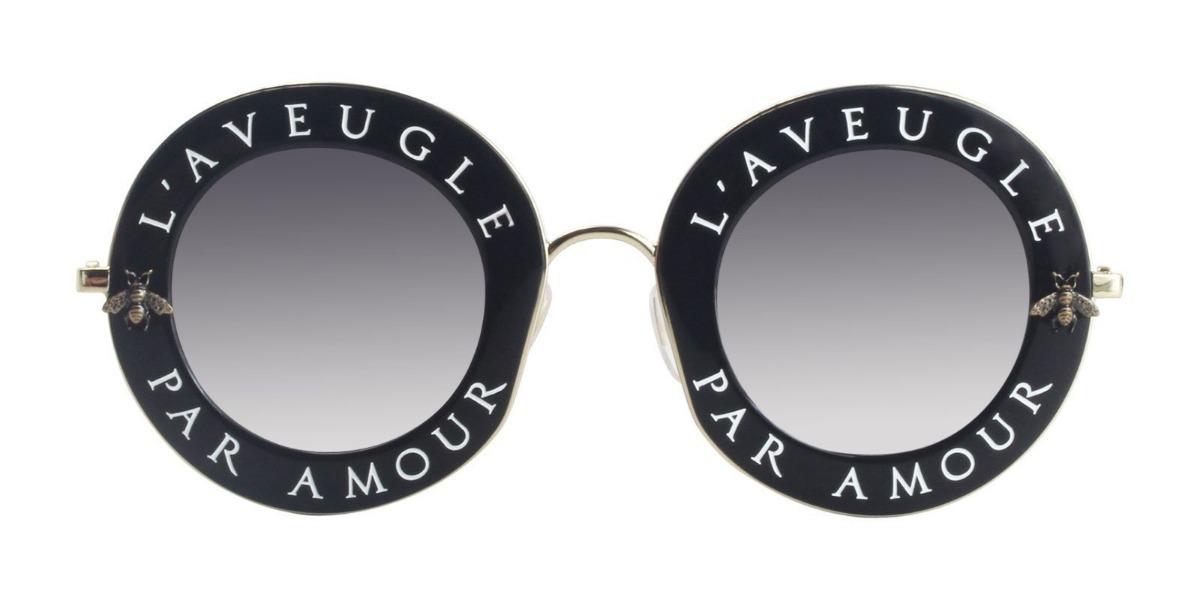 ffe5a71a2cb Óculos De Sol Feminino Gucci Gg0113s-001 L aveugle Original - R  519 ...