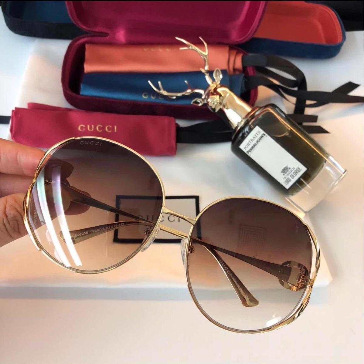 68741a550c019 Óculos De Sol Feminino Gucci Quadrado Redondo Acetato - R  449