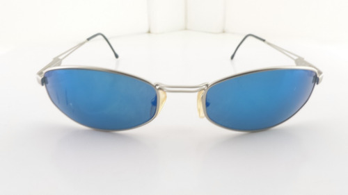 óculos sol, lentes azuis, metal, benetton 1408c3